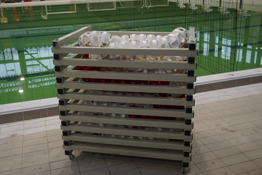 Műanyag pályaelválasztó tároló  50 méter 150 mm átmérőjű kötélnek